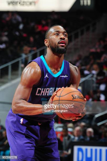 Kemba Walker of the Charlotte Hornets shoots a free throw against the Atlanta Hawks on March 15 2018 at Philips Arena in Atlanta Georgia NOTE TO USER...