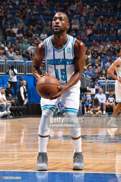 Kemba Walker of the Charlotte Hornets shoots a free throw during a game against the Orlando Magic on October 19 2018 at Amway Center in Orlando...