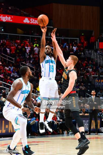 Kemba Walker of the Charlotte Hornets shoots the ball against the Atlanta Hawks on February 9 2019 at State Farm Arena in Atlanta Georgia NOTE TO...