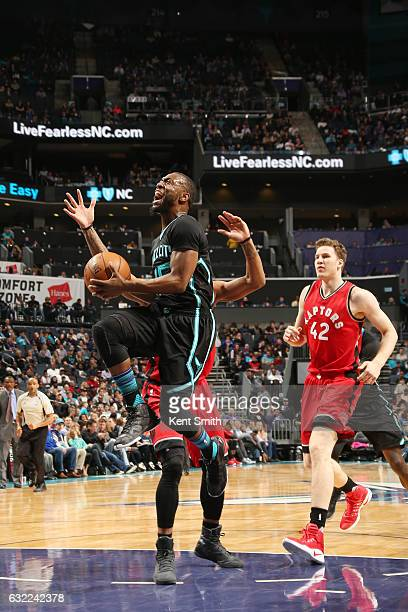 Kemba Walker of the Charlotte Hornets shoots the ball against the Toronto Raptors on January 20 2017 at Spectrum Center in Charlotte North Carolina...