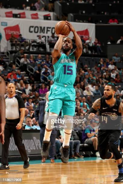 Kemba Walker of the Charlotte Hornets shoots the ball during the game against the Orlando Magic on April 10 2019 at Spectrum Center in Charlotte...