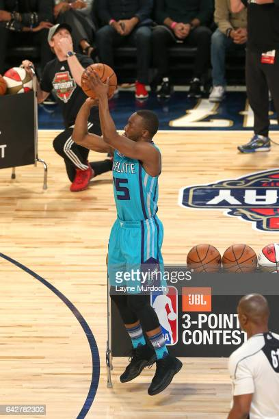 Kemba Walker of the Charlotte Hornets shoots the ball during the JBL ThreePoint Contest during State Farm AllStar Saturday Night as part of the 2017...