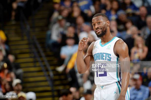 Kemba Walker of the Charlotte Hornets smiles against the Golden State Warriors on March 31 2019 at ORACLE Arena in Oakland California NOTE TO USER...