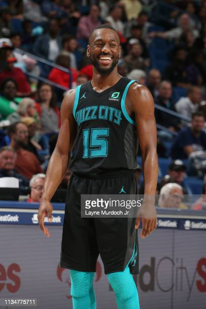 Kemba Walker of the Charlotte Hornets smiles against the New Orleans Pelicans on April 3 2019 at the Smoothie King Center in New Orleans Louisiana...