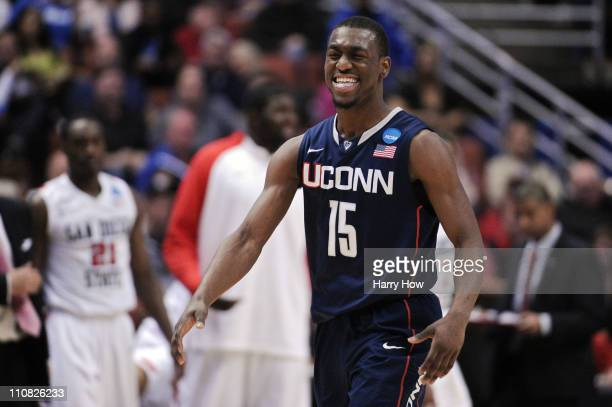 Kemba Walker of the Connecticut Huskies reacts after a play against the San Diego State Aztecs during the west regional semifinal of the 2011 NCAA...