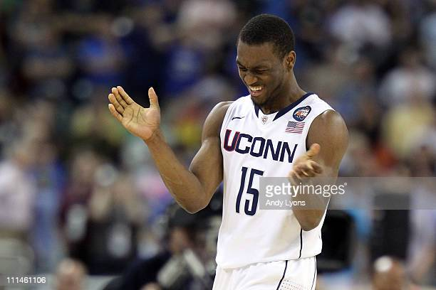 Kemba Walker of the Connecticut Huskies reacts towards the end of the game against the Kentucky Wildcats during the National Semifinal game of the...