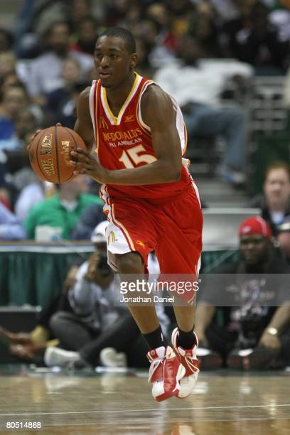 Kemba Walker of the East team dribbles during the 2008 McDonald's All American High School Boys basketball game on March 26 2008 at the Bradley...