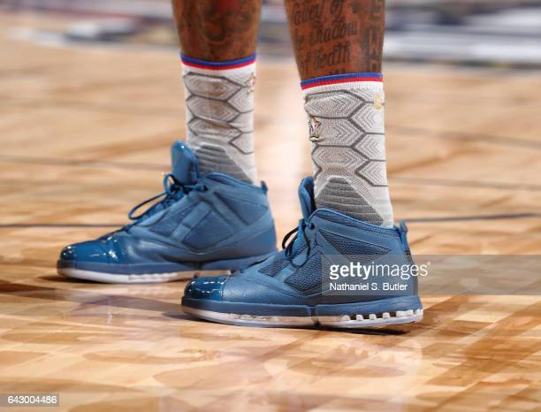 Kemba Walker of the Eastern Conference AllStars sneakers during the NBA AllStar Game as part of the 2017 NBA All Star Weekend on February 19 2017 at...