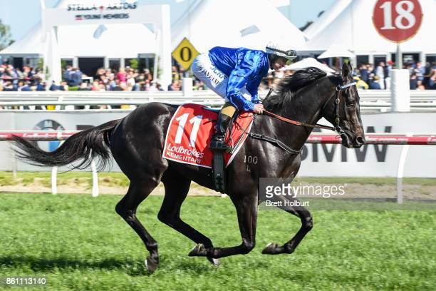 Kementari ridden by Damian Lane heads to the barrier before the Ladbrokes Caulfield Guineas at Caulfield Racecourse on October 14 2017 in Caulfield...