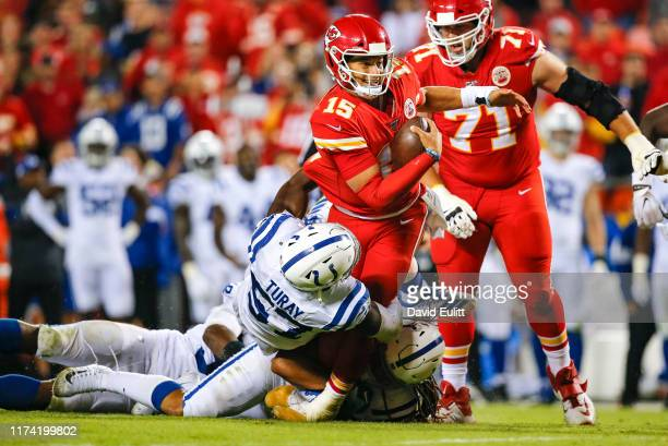 Kemoko Turay of the Indianapolis Colts sacks Patrick Mahomes of the Kansas City Chiefs late in the fourth quarter during the Colts 1913 victory over...