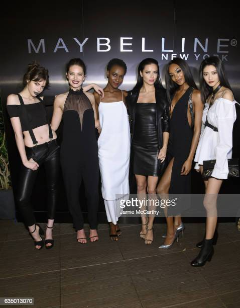 Kemp Muhl Emily DiDonato Herieth Paul Adriana Lima Jourdan Dunn and IHua Wu attend Maybelline New York celebrates Fashion Week at PHD Terrace at...