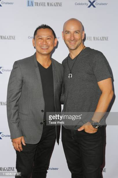 Ken Alcazar and DJ David Wrobel attend Los Angeles Travel Magazine's Endless Summer Issue Release Party at Penthouse on August 02, 2019 in West...