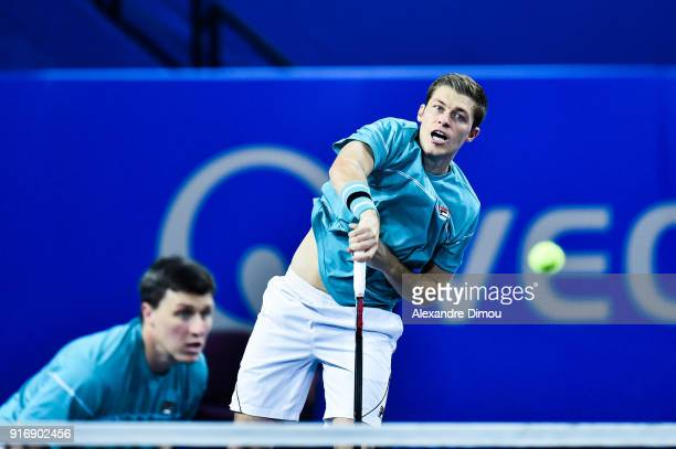 Ken and Neal Skupski of Great Britain during the Final Open Sud of France ATP Montpellier on February 11 2018 in Montpellier France