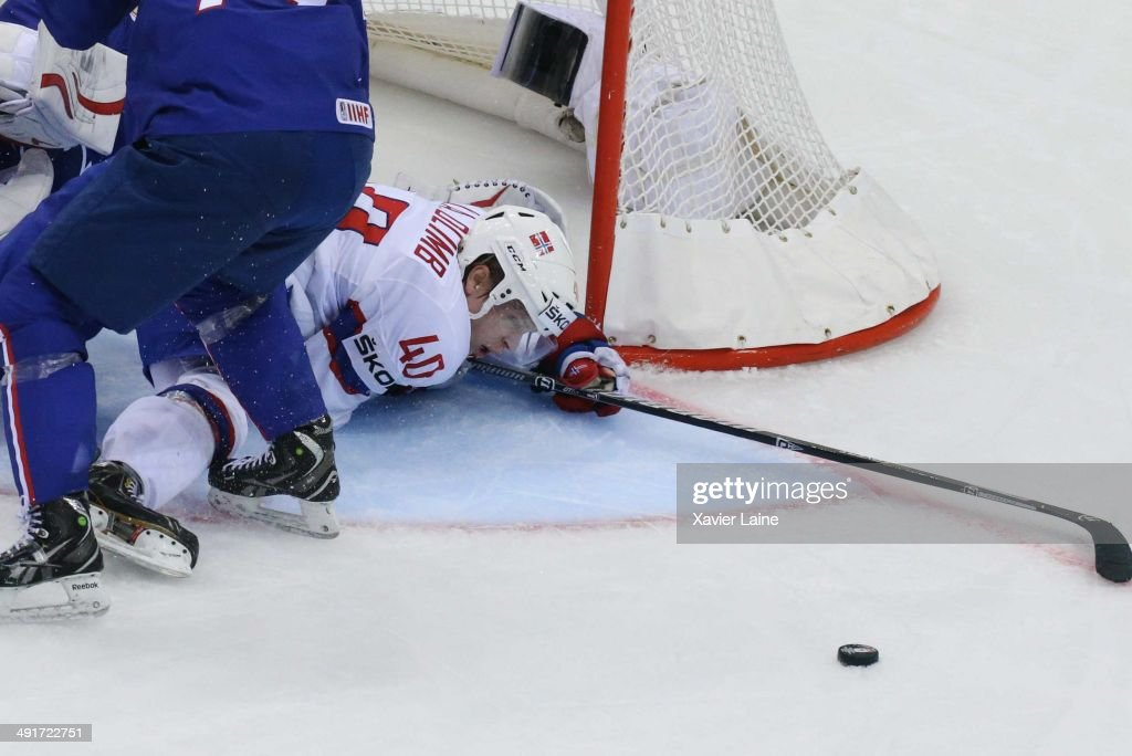 Ken Andre Olimb of Norway in action during the 2014 IIHF World Championship between France and Norway at Chizhovka arena on may 17,2014 in Minsk, Belarus.