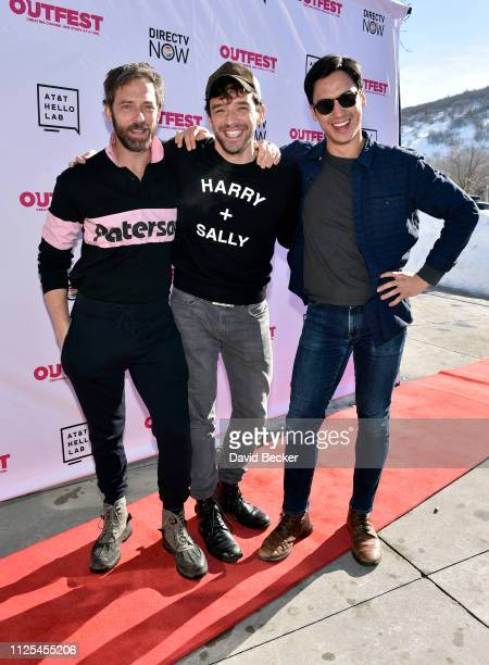 Ken Barrett, Michael Urie and Michael Hsu Rosen attend the Outfest Queer Brunch during the 2019 Sundance Film Festival at Grub Steak on January 27,...