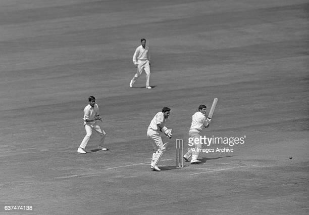 Ken Barrington cuts a ball from Bhagwat Chandrasekhar down to third man Indian wicketkeeper Farokh Engineer looks on