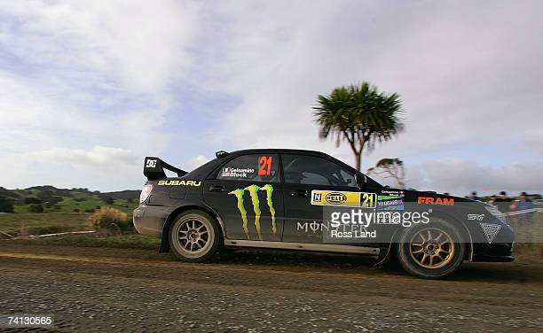 Ken Block and codriver Alex Gelsomino of the USA drive their Subaru Impreza WRX over the Hella bridge during SS1 Wairere 1 on leg 1 of the...