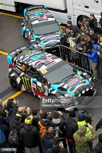 Ken Block of Usa and Alex Gelsomino of Usa compete in their Ford Fiesta RS WRC during Day One of the Rally di Monza on November 28 2014 in Monza Italy