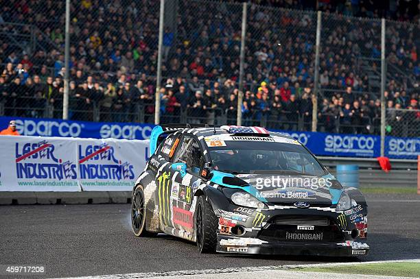 Ken Block of Usa and Alex Gelsomino of Usa compete in their Ford Fiesta RS WRC during Day Two of the Rally di Monza on November 29 2014 in Monza Italy