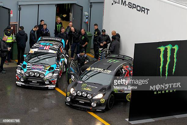 Ken Block of Usa and Kurt Busch of Usa in the service area during Day One of the Rally di Monza on November 28 2014 in Monza Italy