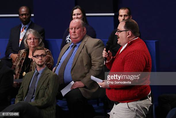 Ken Bone asks a question during the town hall debate at Washington University on October 9 2016 in St Louis Missouri This is the second of three...