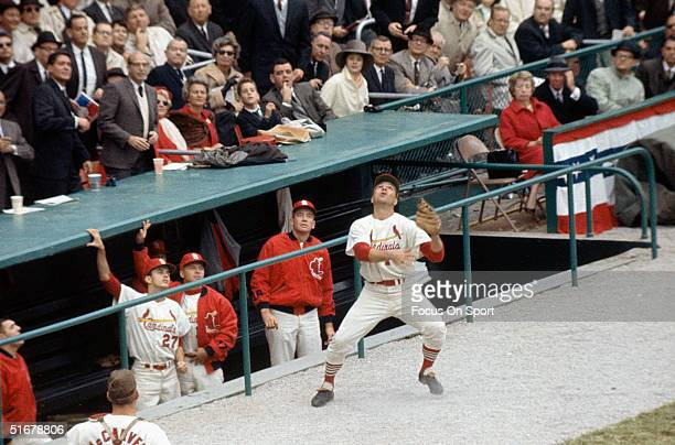 Ken Boyer of the St Louis Cardinals goes after a foul pop up near the dugout during the 1964 World Series against the New York Yankees at Sportsman's...