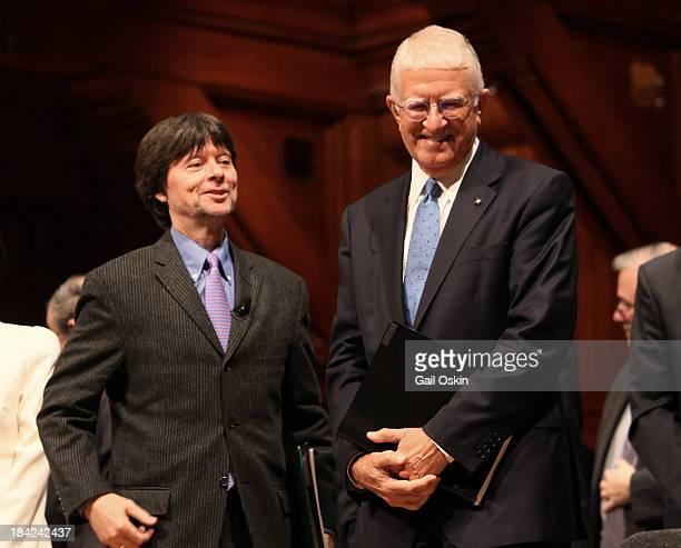Ken Burns and Don Randel attend the American Academy of Arts and Sciences Induction Ceremony 2013 at the Sanders Theatre at Harvard University on...