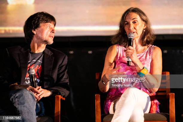 Ken Burns and Julie Dunfey speak during a Special Sneak Peek of Ken Burns' PBS documentary series Country Music at Autry Museum of the American West...