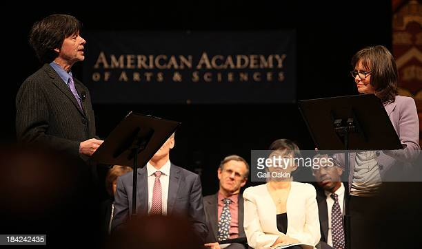 Ken Burns and Sally Field attend the American Academy of Arts and Sciences Induction Ceremony 2013 at the Sanders Theatre at Harvard University on...
