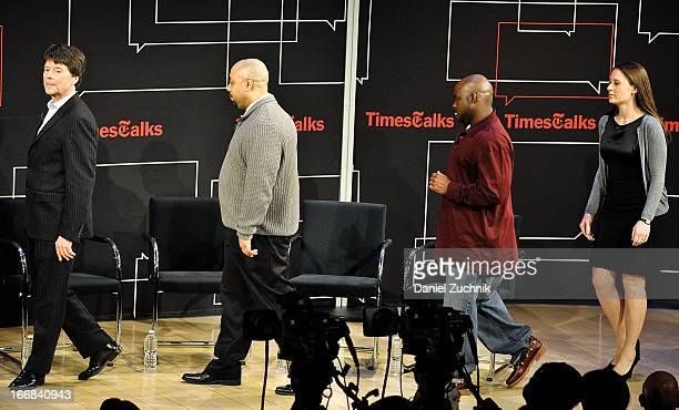 Ken Burns Raymond Santana Antron McCray and Sarah Burns attend the TimesTalks Presents 'Central Park 5' at TheTimesCenter on April 17 2013 in New...