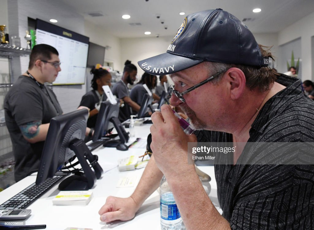 Ken Butler of Colorado smells a cannabis sample Essence Vegas Cannabis Dispensary after the start of recreational marijuana sales began on July 1, 2017 in Las Vegas, Nevada. Nevada joins seven other states allowing recreational marijuana use and becomes the first of four states that voted to legalize recreational sales in NovemberÕs election to allow dispensaries to sell cannabis for recreational use to anyone over 21.