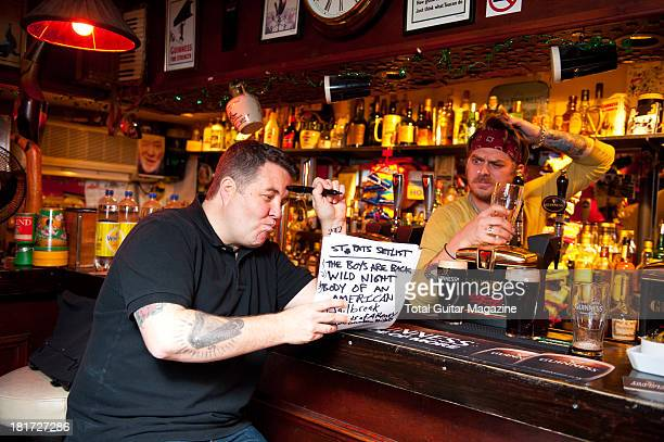 Ken Casey and James Lynch of American celtic punk band Dropkick Murphys photographed during a portrait shoot for Total Guitar Magazine November 26...