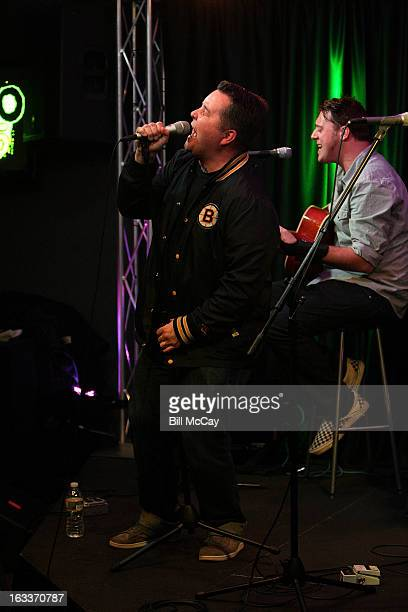 Ken Casey and James Lynch of Dropkick Murphys perform at Radio Station Q102 iHeartRadio Performance Theater March 8 2013 in Bala Cynwyd Pennsylvania