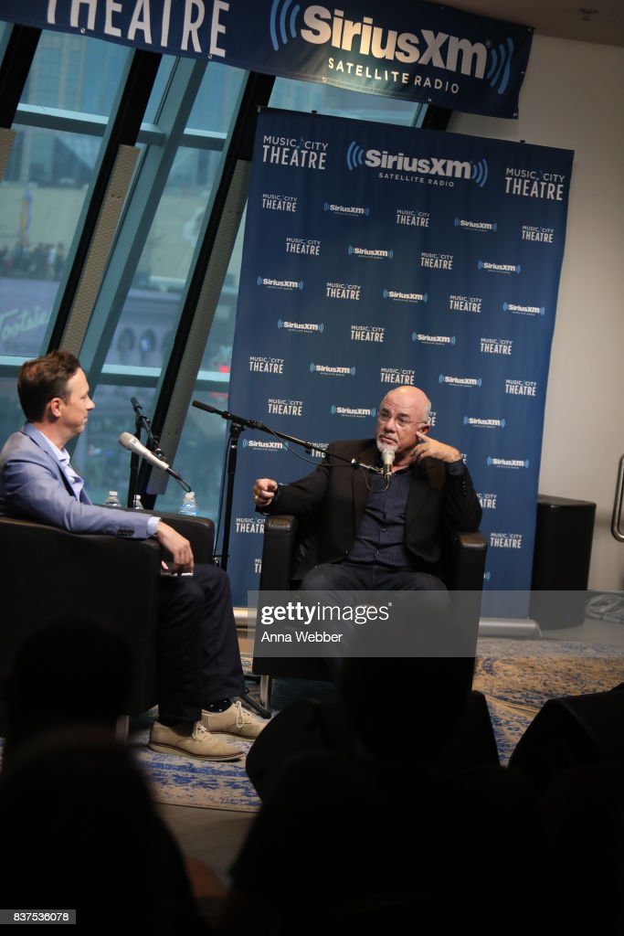 Ken Coleman (L) interviews Sirius XM host Dave Ramsey (R) during Money Expert Dave Ramsey Celebrates 25 Years On The Radio During A SiriusXM Town Hall at Sirius XM Nashville studios on August 22, 2017 in Nashville, Tennessee.