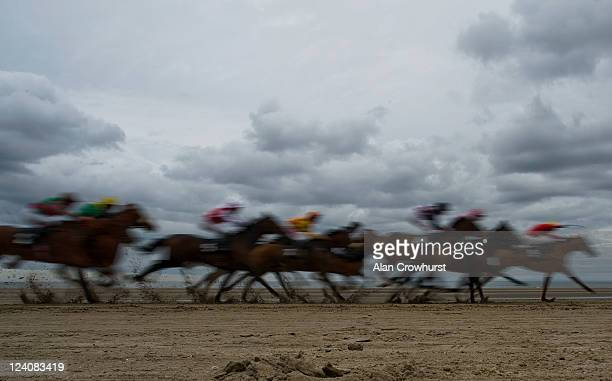 Ken Condon riding Smoky Cloud win The Balmarino Handicap during the Laytown race meeting run on the beach on September 08 2011 in Laytown Ireland