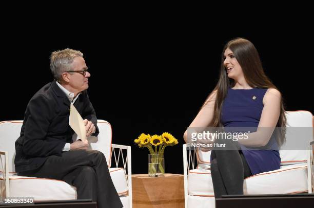 Ken Corbett and Danica Roem speak onstage during The Tory Burch Foundation 2018 Embrace Ambition Summit at Alice Tully Hall on April 24 2018 in New...