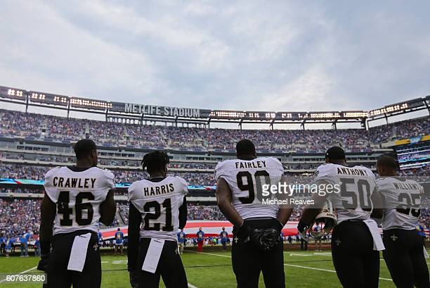 Ken Crawley De'Vante Harris Nick Fairley Stephone Anthony and PJ Williams of the New Orleans Saints of the New Orleans Saints look on during pregame...
