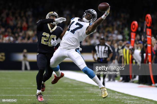 Ken Crawley of the New Orleans Saints breaks up a pass intended for Devin Funchess of the Carolina Panthersduring the second half of a game at the...