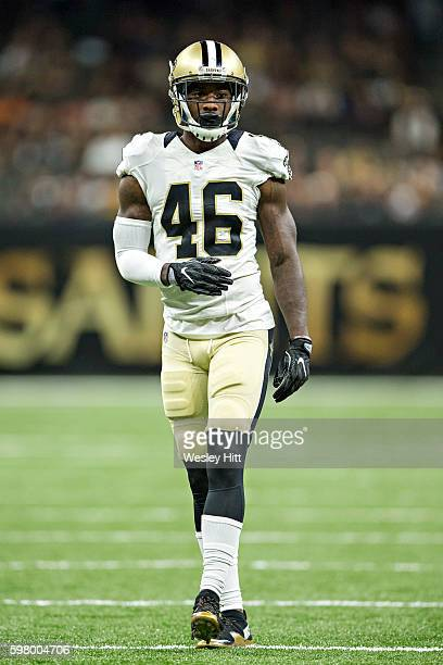 Ken Crawley of the New Orleans Saints jogs off the field during a preseason game against the Pittsburgh Steelers at MercedesBenz Superdome on August...