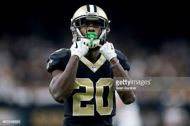 Ken Crawley of the New Orleans Saints reacts to a play during the second half of the NFC Wild Card playoff game against the Carolina Panthers at the...