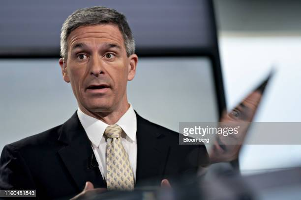 Ken Cuccinelli, acting director of U.S. Citizenship and Immigration Services, speaks during a Bloomberg Television interview in Washington, D.C.,...