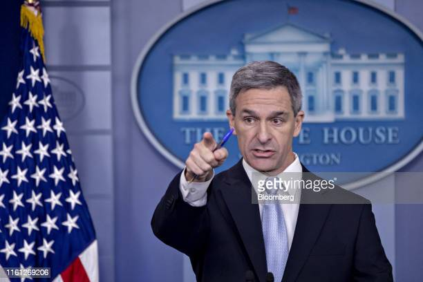 Ken Cuccinelli, acting director of U.S. Citizenship and Immigration Services , takes a question while speaking in the White House press briefing room...