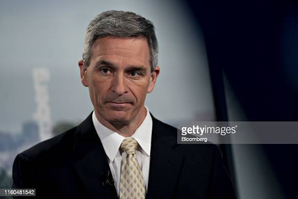 Ken Cuccinelli, acting director of U.S. Citizenship and Immigration Services, waits to begin a Bloomberg Television interview in Washington, D.C.,...
