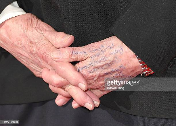 Ken Dodd hand detail poses in the winners room at the National Television Awards at The O2 Arena on January 25 2017 in London England