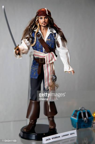 "Ken doll representing Johnny Depp is displayed during an exhibition dedicated to the Barbie doll at ""la Nef des jouets"" on March 7, 2019 in Soultz,..."