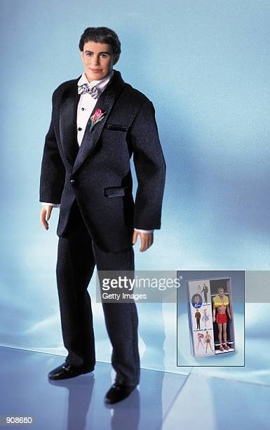 A Ken doll wears a tuxedo in this undated photo of the commemorative 40th Anniversary Ken doll which comes complete with a mini replica of the very...