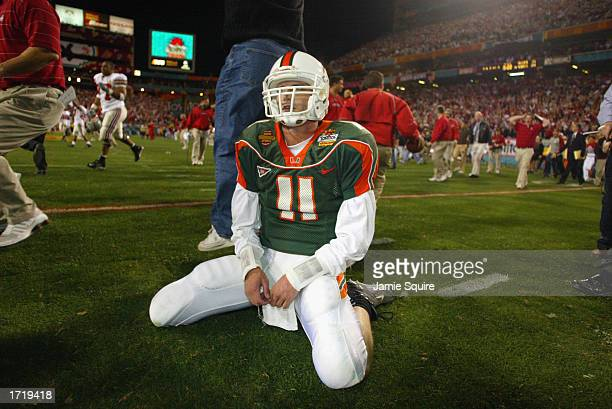 Ken Dorsey of the University of Miami Hurricanes sits dejected after losing the doubleovertime BCS Championship game to the Ohio State Buckeyes...