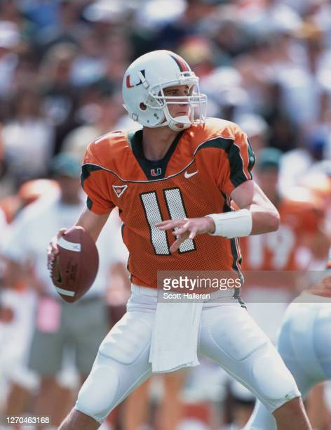 Ken Dorsey, Quarterback for the University of Miami Hurricanes during the NCAA Big East Conference college football game against the Virginia Tech...