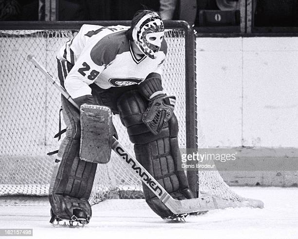 Ken Dryden of the Montreal Canadiens looks on during a game at the Montreal Forum circa 1975 in Montreal Quebec Canada