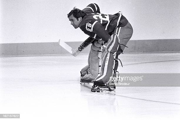 Ken Dryden of the Montreal Canadiens looks on during practice at the Montreal Forum circa 1975 in Montreal Quebec Canada